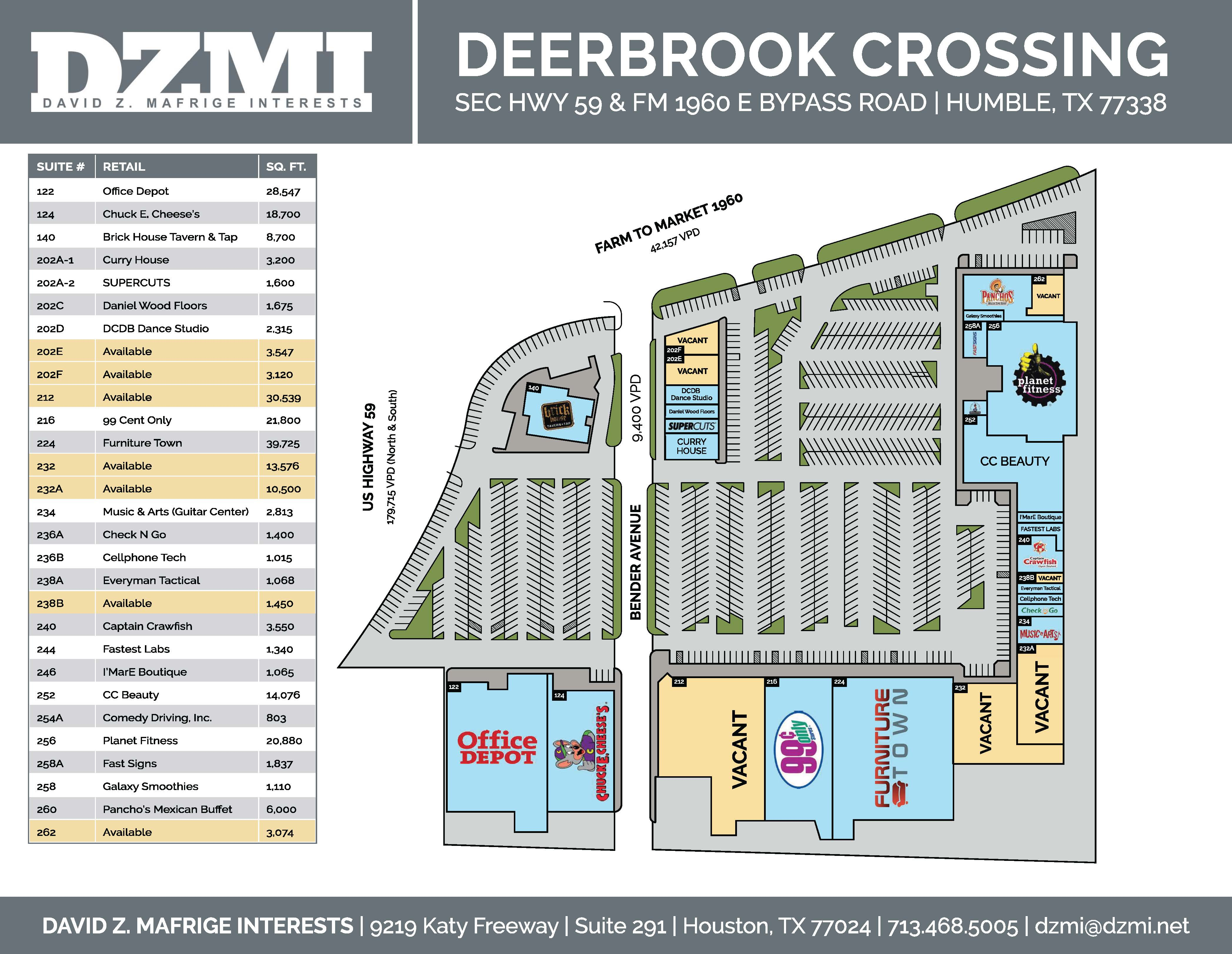 Deerbrook Crossing | Retail Space for Lease in Humble TX | DZMI